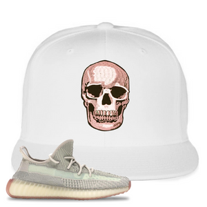 Yeezy Boost 350 V2 Citrin Non-Reflective Skull White Sneaker Matching Snapback Hat