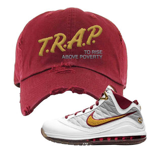 LeBron 7 MVP Distressed Dad Hat | Maroon, Trap To Rise Above Poverty