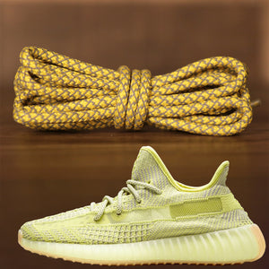 Yeezy 350 V2 Antlia alongside the golden yellow rope sneaker yeezy matching laces