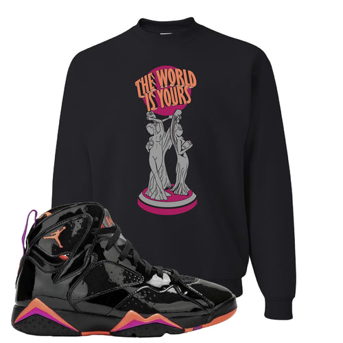 Air Jordan 7 WMNS Black Patent Leather The World Is Yours Statue Black Sneaker Matching Crewneck Sweatshirt