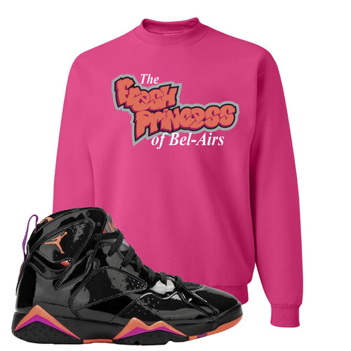 Air Jordan 7 WMNS Black Patent Leather The Fresh Princess of Bel Air Cyber Pink Sneaker Matching Crewneck Sweatshirt