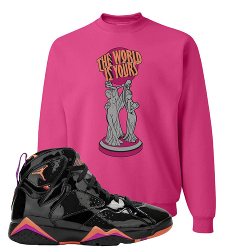 Air Jordan 7 WMNS Black Patent Leather The World Is Yours Statue Cyber Pink Sneaker Matching Crewneck Sweatshirt