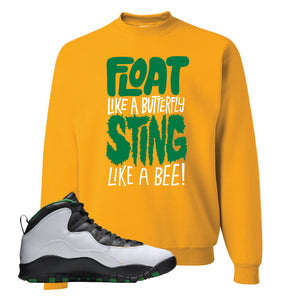Jordan 10 Seattle Supersonics Crewneck Sweatshirt | Float Like A Butterfly Lettering, Gold