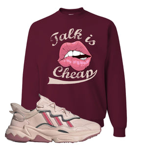 Women Ozweego Icy Pink Crewneck Sweatshirt | Talk Is Cheap, Maroon