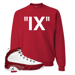 Air Jordan 9 Gym Red Crewneck Sweatshirt | IX, Red