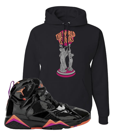 Air Jordan 7 WMNS Black Patent Leather The World Is Yours Statue Black Sneaker Matching Pullover Hoodie