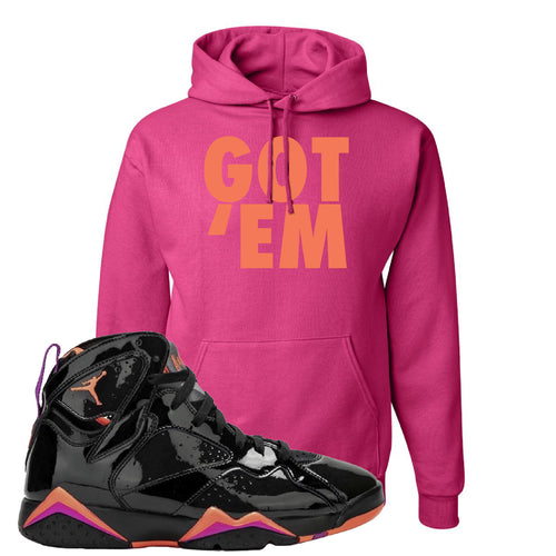 Air Jordan 7 WMNS Black Patent Leather Got Em Cyber Pink Sneaker Matching Pullover Hoodie