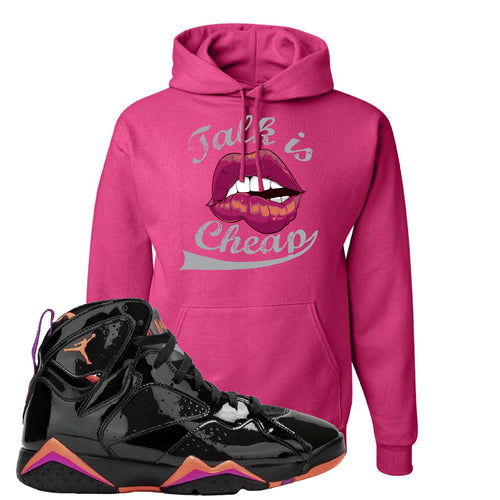 Air Jordan 7 WMNS Black Patent Leather Talk Is Cheap Cyber Pink Sneaker Matching Pullover Hoodie