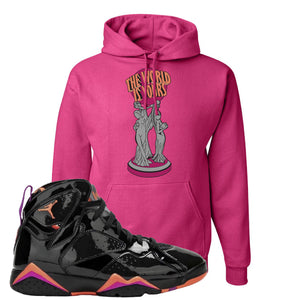 Jordan 7 WMNS Black Patent Leather The World Is Yours Statue Cyber Pink Sneaker Hook Up Pullover Hoodie