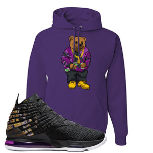 Lebron 17 Lakers Sweater Bear Deep Purple Sneaker Hook Up Pullover Hoodie