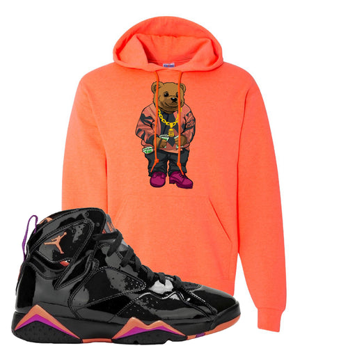 Air Jordan 7 WMNS Black Patent Leather Biggie Bear Retro Heather Coral Sneaker Matching Pullover Hoodie