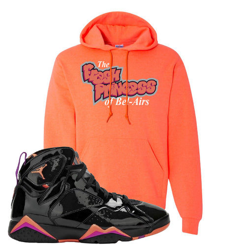 Air Jordan 7 WMNS Black Patent Leather The Fresh Princess Of Bel Air Retro Heather Coral Sneaker Matching Pullover Hoodie