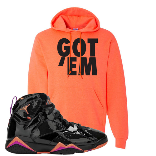 Air Jordan 7 WMNS Black Patent Leather Got Em Retro Heather Coral Sneaker Matching Pullover Hoodie