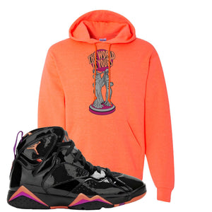 Jordan 7 WMNS Black Patent Leather The World Is Yours Statue Retro Heather Coral Sneaker Hook Up Pullover Hoodie