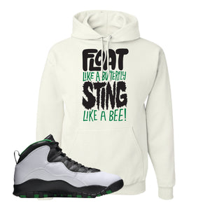 Jordan 10 Seattle Supersonics Hoodie | Float Like A Butterfly Lettering, White