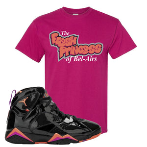 Jordan 7 WMNS Black Patent Leather The Fresh Princess of Bel Air Berry Sneaker Hook Up T-Shirt