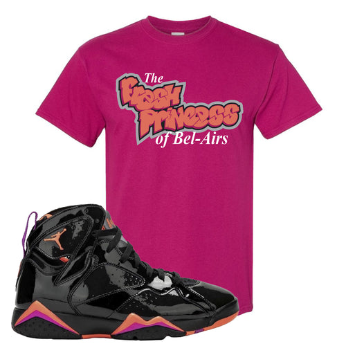 Air Jordan 7 WMNS Black Patent Leather The Fresh Princess of Bel Air Berry Sneaker Matching T-Shirt