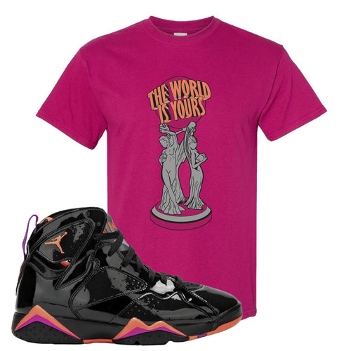 Air Jordan 7 WMNS Black Patent Leather The World Is Yours Statue Berry Sneaker Matching T-Shirt