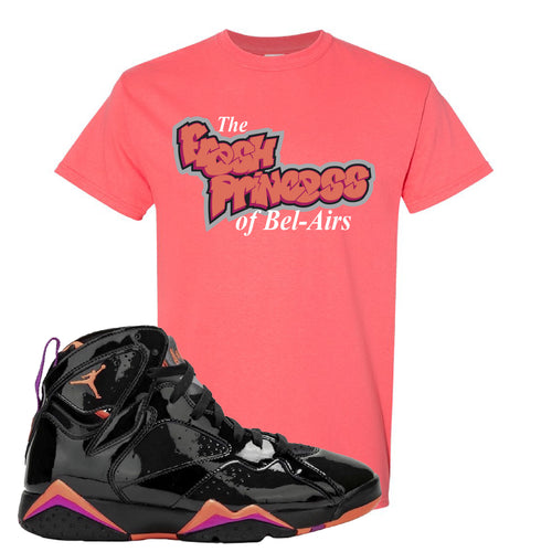 Air Jordan 7 WMNS Black Patent Leather The Fresh Princess of Bel Air Coral Silk Sneaker Matching T-Shirt