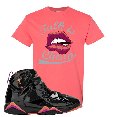 Air Jordan 7 WMNS Black Patent Leather Talk Is Cheap Coral Silk Sneaker Matching T-Shirt