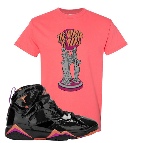 Air Jordan 7 WMNS Black Patent Leather The World Is Yours Statue Coral Silk Sneaker Matching T-Shirt