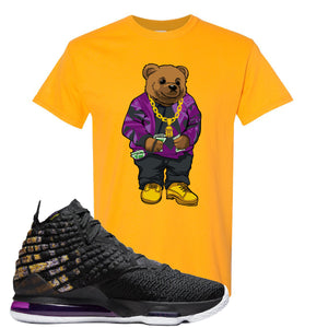 Lebron 17 Lakers Sweater Bear Gold Sneaker Hook Up T-Shirt