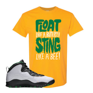 Jordan 10 Seattle Supersonics T Shirt | Float Like A Butterfly Lettering, Gold