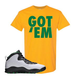 Jordan 10 Seattle Supersonics T Shirt | Got Em, Gold