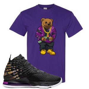 Lebron 17 Lakers Sweater Bear Purple Sneaker Hook Up T-Shirt