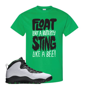 Jordan 10 Seattle Supersonics T Shirt | Float Like A Butterfly Lettering, Irish Green