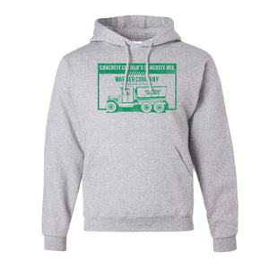 Concrete Charlie's Pullover Hoodie | Chuck Bednarik's Concrete Mix Ash Pull Over Hoodie the front of this hoodie has the concrete company