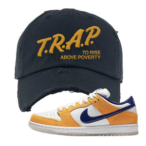 SB Dunk Low Laser Orange Distressed Dad Hat | Navy, Trap To Rise Above Poverty