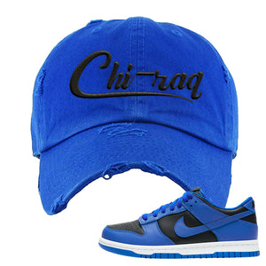 Dunk Low Hyper Cobalt Distressed Dad Hat | Chiraq, Royal