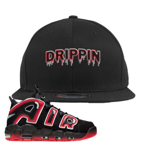 Air More Uptempo Laser Crimson Snapback Hat | Black, Drippin