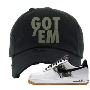 Air Force 1 Low Camo Distressed Dad Hat | Got Em, Black