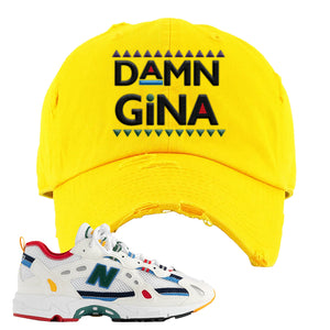 Aime Leon Dore X New Balance 827 Abzorb Multicolor 'White' Distressed Dad Hat | Gold, Damn Gina