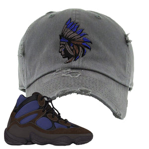 Yeezy 500 High Tyrian Distressed Dad Hat | Dark Gray, Indian Chief