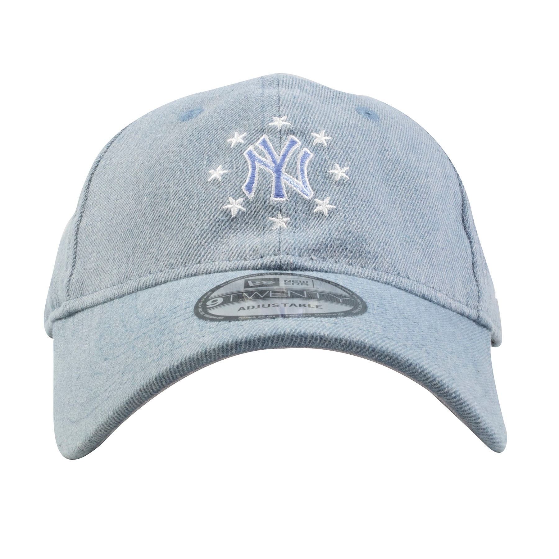 Embroidered on the front of the light denim New York Yankees dad hat is the  New 776c75f2ac7