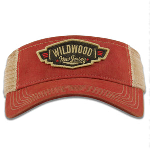Wildwood New Jersey Wings Patch Vacation Resort Red / Khaki Mesh Visor