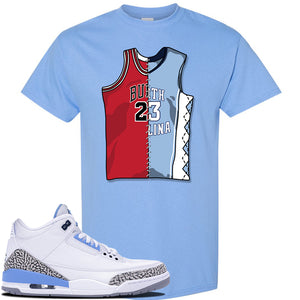 Jordan 3 UNC Sneaker Carolina Blue T Shirt | Tees to match Nike Air Jordan 3 UNC Shoes | Half UNC Half Bulls