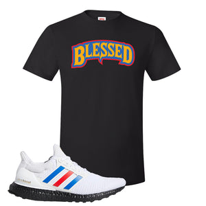 Ultra Boost White Red Blue T Shirt | Black, Blessed Arch