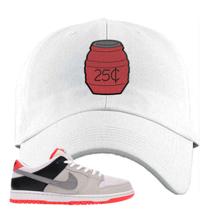 Nike SB Dunk Low Infrared Orange Label Quarter Water White Dad Hat To Match Sneakers