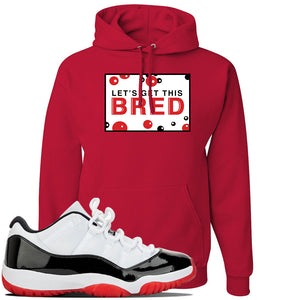 Jordan 11 Low White Black Red Sneaker Red Pullover Hoodie | Hoodie to match Nike Air Jordan 11 Low White Black Red Shoes | Let's Get This Bread