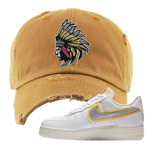 Air Force 1 Low 07 LX White Gold Distressed Dad Hat | Indian Chief, Timber