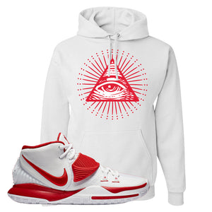 Kyrie 6 White University Red Hoodie | All Seeing Eye, White