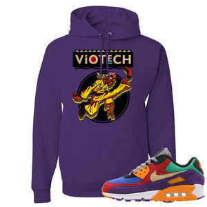 On the front of the Air Max 90 Viotech sneaker matching purple pullover hoodie is the Viotech Rattlesnake Jones logo