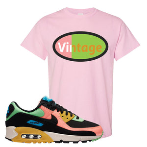 Furry Air Max 90 Bright Neon T Shirt | Vintage Oval, Light Pink