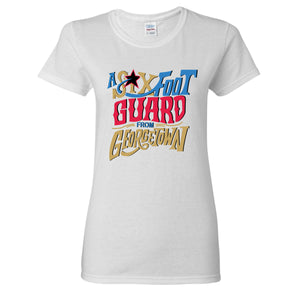 Six Foot Guard From Georgetown Women's T-Shirt | Allen Iverson White Women's Tee Shirt the front of this women's t-shirt has the six foot guard design
