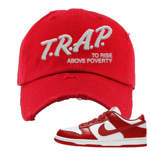 SB Dunk Low 'St. John's' Distressed Dad Hat | Red, Trap To Rise Above Poverty