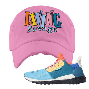 Foot Clan  Pharrel Williams X SolarHU Multicolor  Living Savage  Pink  Distressed Dad Hat    Rock your favorite pair of kicks in style with this Pharrel Williams X SolarHU Multicolor Sneaker Pink Distressed Dad Hat. The Living Savage logo on the front of this Pharrel Williams X SolarHU Multicolor Sneaker Pink Distressed Dad Hat is what your sneaker matching outfit has been missing. Match your shoes today!